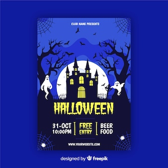 House party in blue shades halloween party flyer
