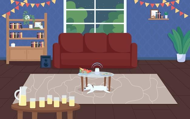 하우스 파티 평면 컬러 일러스트입니다. 하우스 축하. 음료와 음악이있는 밤 이벤트. 집들이 저녁. 레크리에이션 시간. 배경에 창문이있는 거실 2d 만화 인테리어