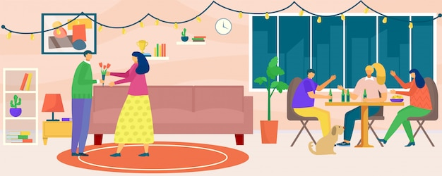 House party,  illustration.  man woman people character at  home together, young friend person at apartment room. female male group drink, have fun indoor interior.