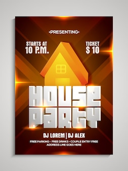 House party template, dance party flyer, night party banner.