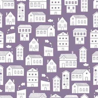 家のパターン落書きスケッチスタイル