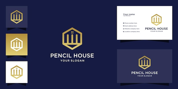 House pencil logo with line art style and business card