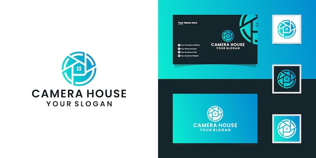 House photography with lens concept and house design templates and business card inspiration