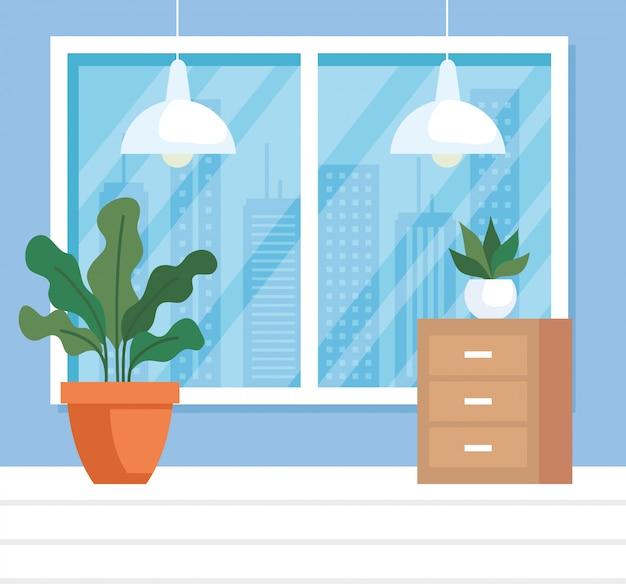 집 장소 인테리어 장면 아이콘 일러스트 디자인