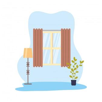 Дом место сцена изолированные дизайн иконки векторные иллюстрации