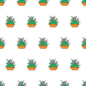 白い背景の上の観葉植物のシームレスなパターン。植木鉢のテーマのベクトル図
