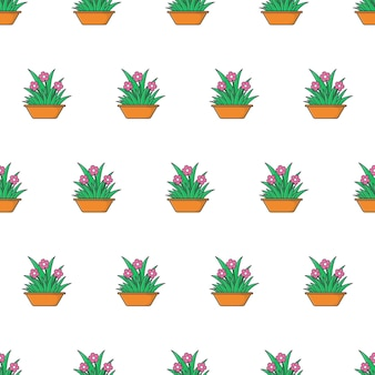 House plant seamless pattern on a white background. flowerpot theme vector illustration
