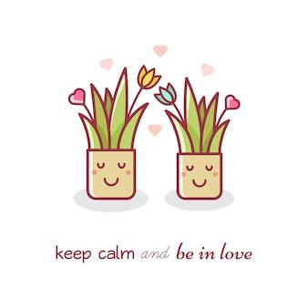 House plants. couple. vector illustration.