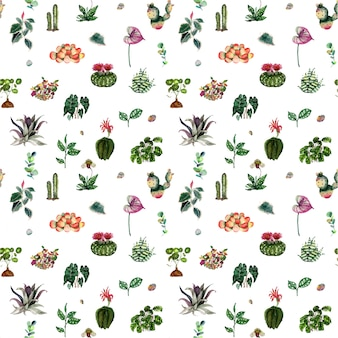 House plants and flowers pattern
