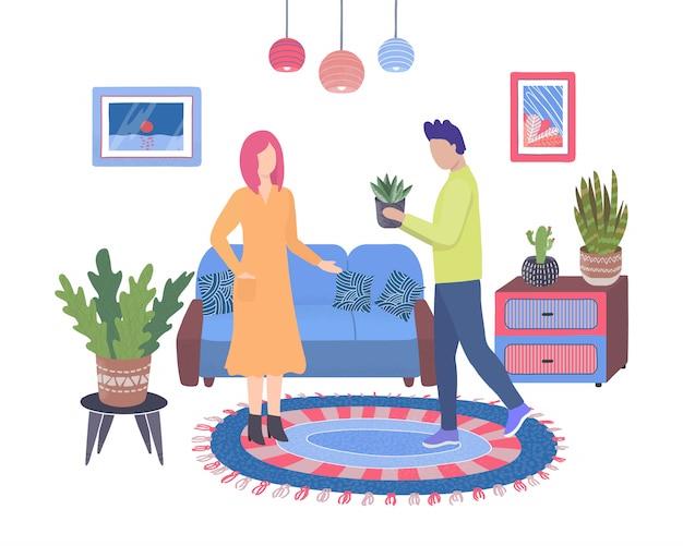 Комнатные растения в гостиной и пара человек, посадка цветов и женщина, изолированные на белом домашний сад плоской иллюстрации.