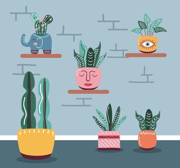 Комнатные растения в горшках, стиль скандинавский