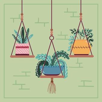 Комнатные растения на горшке в подвесном декоре, скандинавский стиль Premium векторы