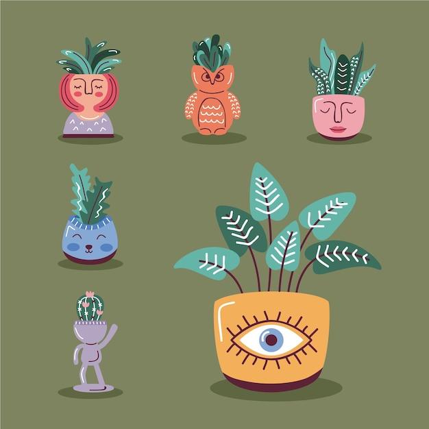 House plants in pots, scandinavian style