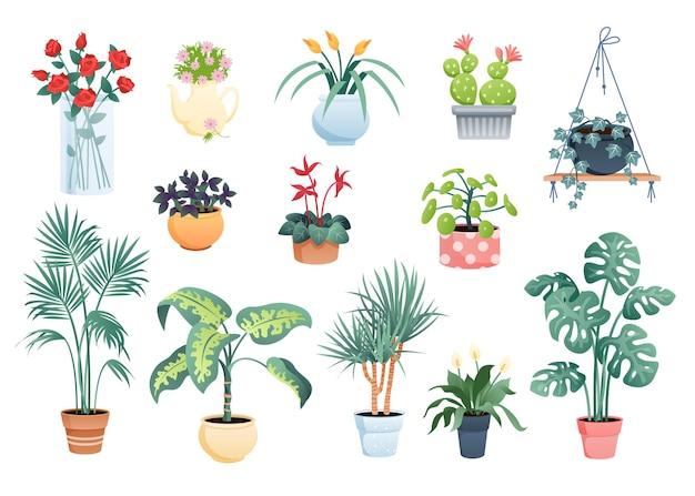 観葉植物。マクラメポット、粘土またはガラスの花瓶の観葉植物の鉢植えの植物と花のコレクション