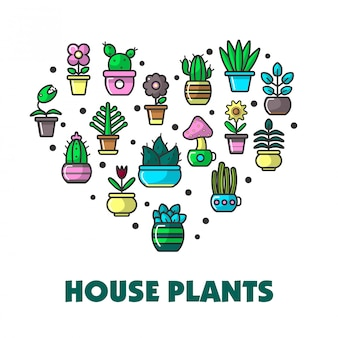 House plants promo poster with potted flowers in heart