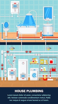 House plumbing concept flat vector illustration.