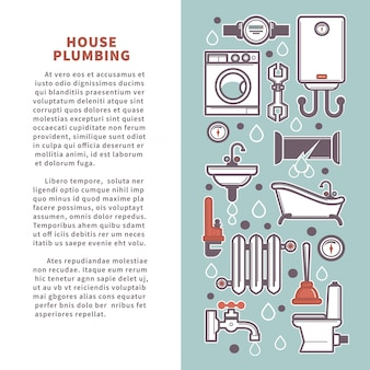 House plumbing vector poster