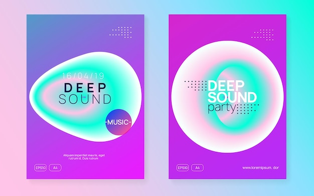 House poster. electro and exhibition vector. wavy club fest. fun art for set. gradient background for brochure template. pink and turquoise house poster