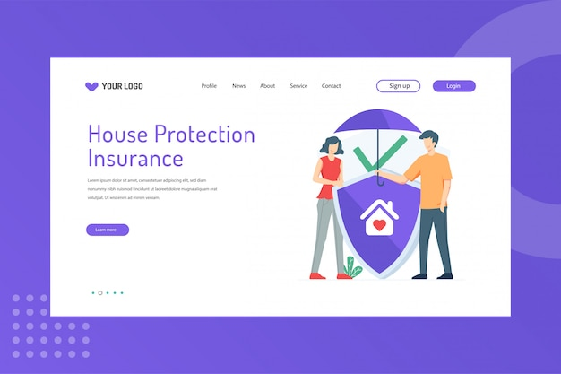 House protection illustration on landing page