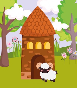 House and ram flowers grass trees clouds farm animal cartoon illustration
