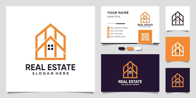 House real estate logo with line art style and business card design premium vector