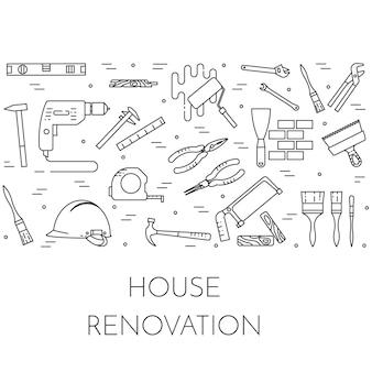 ハウス改造水平バナー。家の修理、建物または改築の会社のための要素。 Premiumベクター