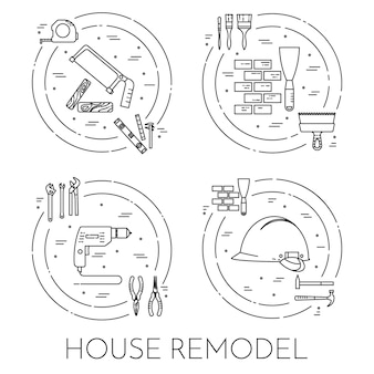House remodel horizontal banner. element for house repair, building or renovation company.