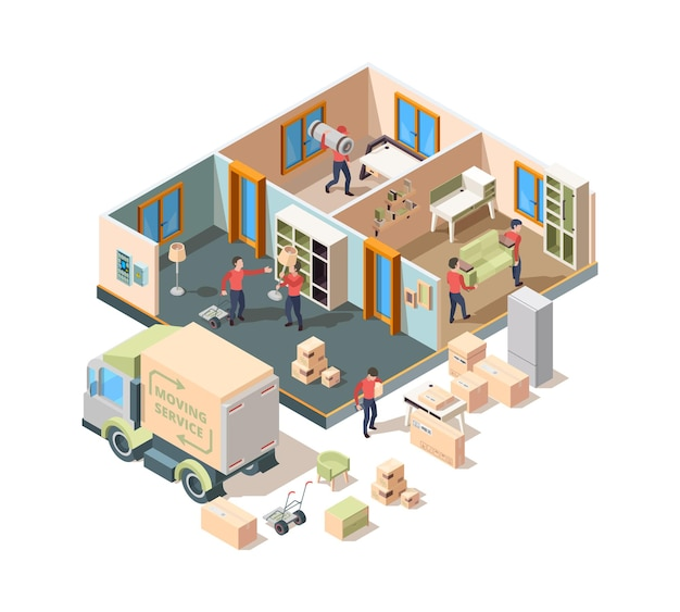 House removal service. company loader and transporting workers in new house men lifting sofa and boxes in truck vector outdoor isometric picture