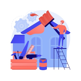 House renovation abstract concept vector illustration. property remodeling ideas and tips, construction services, potential buyer, house listing, renovation design project abstract metaphor.