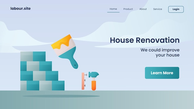 House renovation campaign for web website home homepage landing template