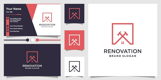 House renovation logo with modern abstract concept premium vector