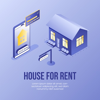 House for rent. digital isometric design concept for real estate