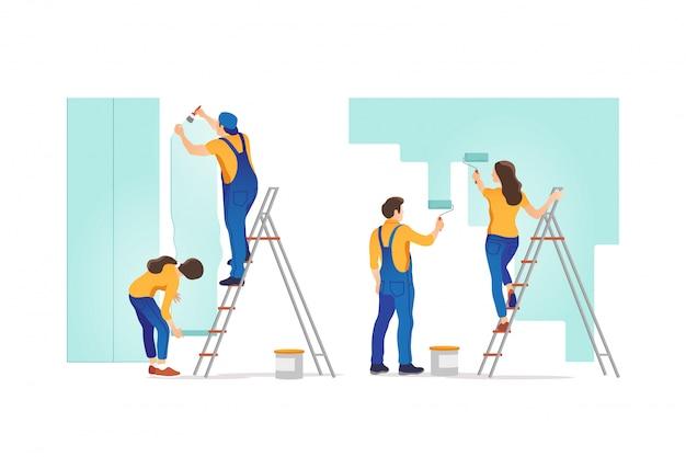 Ремонт дома. люди красят стены и клеят обои дома. иллюстрации.