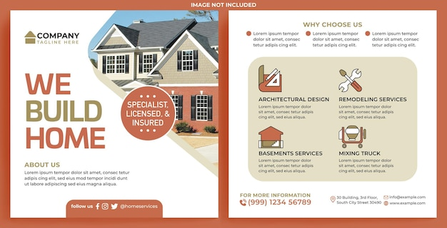 House repair promotion feed instagram in flat design style