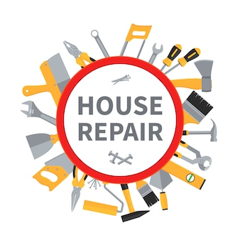 House repair and remodeling with construction tools