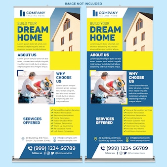 House repair roll up banner print template in modern design style