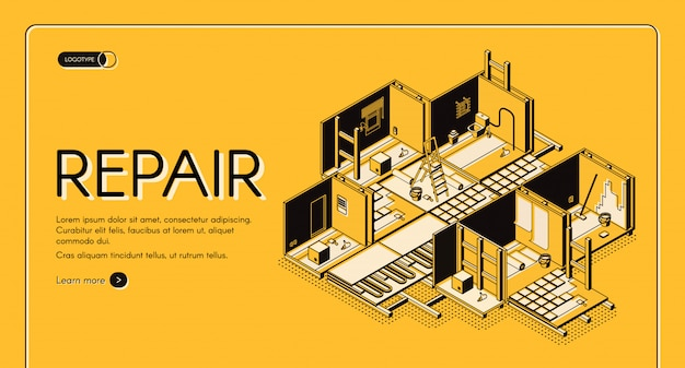 House repair service isometric vector web banner.