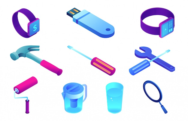 House repair tools and smart watch isometric 3d illustration set.
