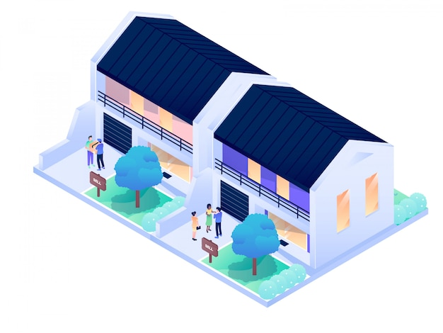 House residence city interior exterior isometric vector design illustration