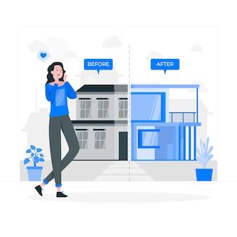 家のスタイルを変える概念図 無料ベクター