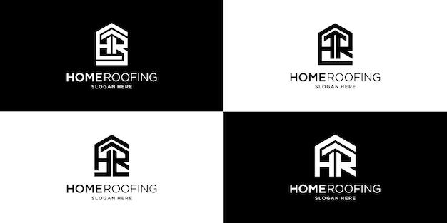 最初の文字のhrデザインの家の屋根のロゴ
