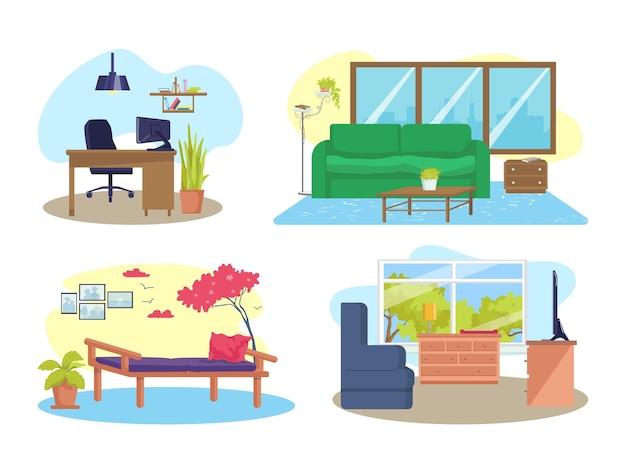 하우스 룸 인테리어 세트, 흰색 벡터 일러스트 레이 션에 고립. 가구, 현대적인 테이블, 의자, 만화 소파가 있는 집. 아파트 스타일, 거실