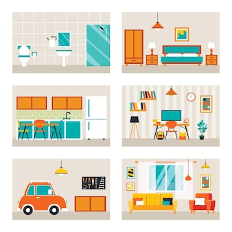 House rooms with flat furnitures