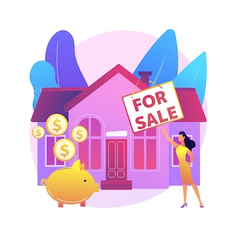 House for sale abstract concept  illustration. selling house best deal, real estate agent services, residential and commercial property, mortgage broker, auction bid .