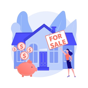 Casa in vendita concetto astratto illustrazione vettoriale. vendere l'affare migliore della casa, servizi di agente immobiliare, proprietà residenziale e commerciale, mediatore di ipoteca, metafora astratta dell'offerta dell'asta.