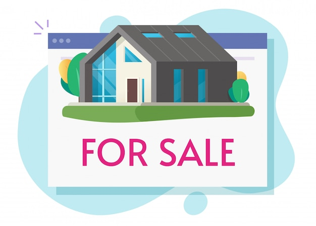 House for sale or new home apartment digital selling online on internet web flat cartoon illustration
