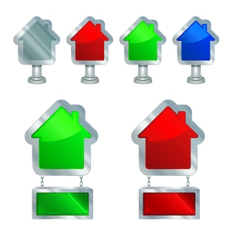 House for sale or rent icons set