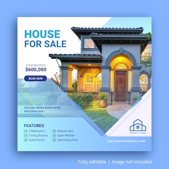 House for sale social media post advertising banner template
