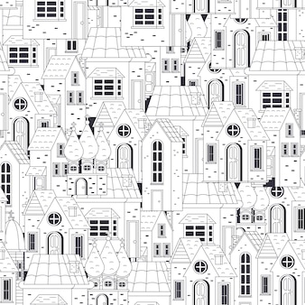 House seamless pattern vector background for wallpaper, wrapping, packing, and backdrop.