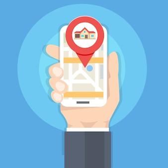 Поиск дома с приложением телефона, рукой, держащей смартфон, концепция недвижимости. векторная иллюстрация